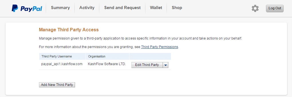 PayPal Thrd Party Access