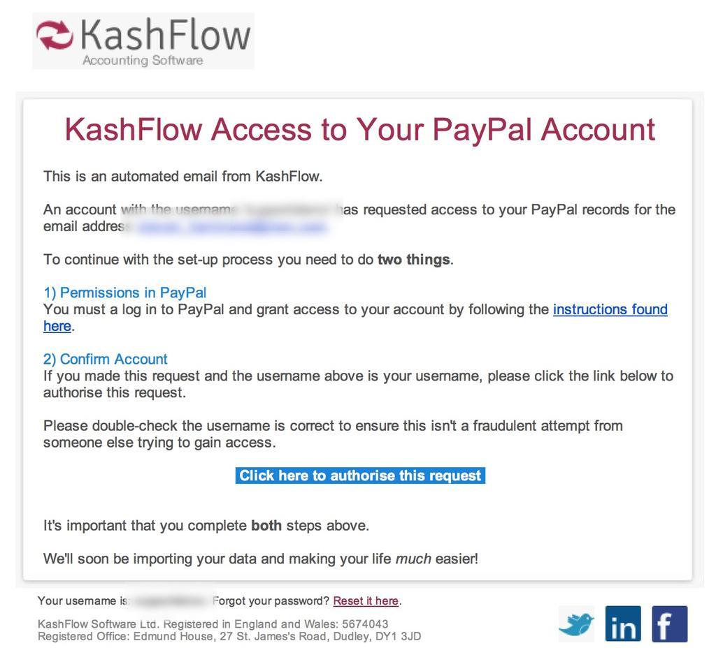 PayPal Importer - Step 2 - Setting Up KashFlow - KashFlow