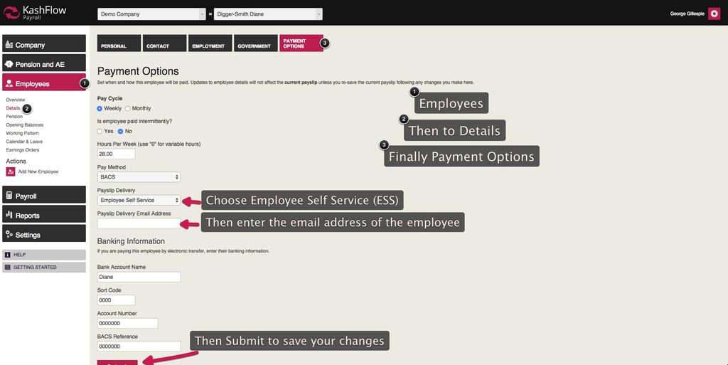 How to email payslip - KashFlow