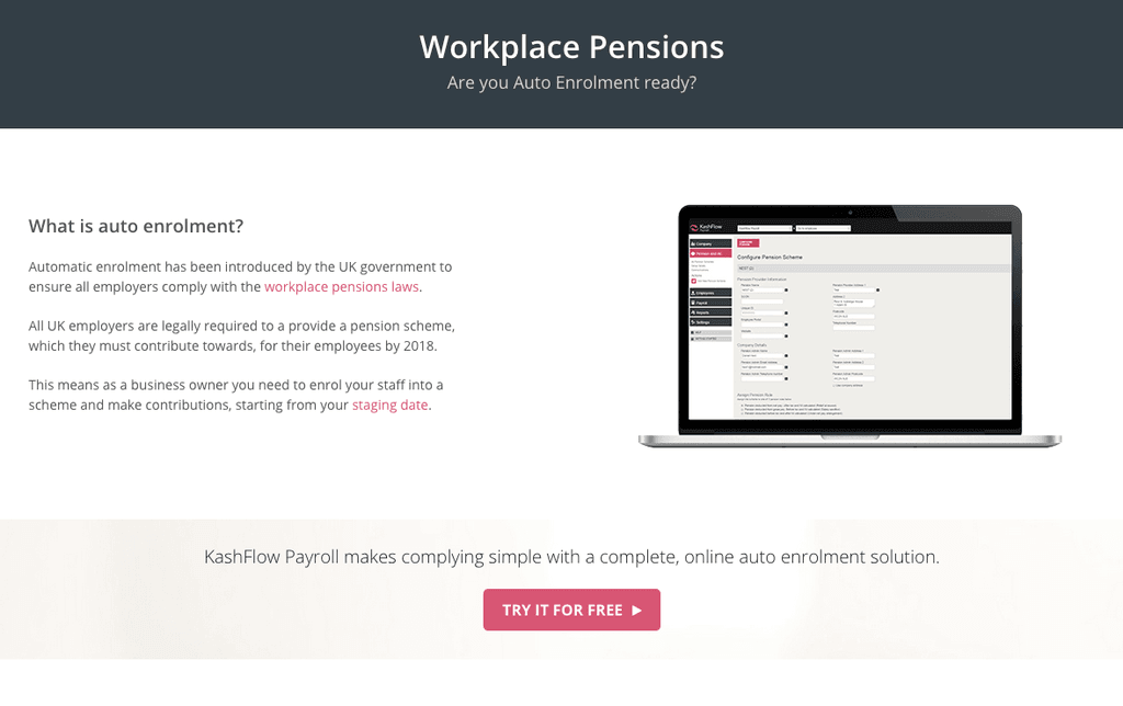 KashFlow Workplace Pensions Screenshot
