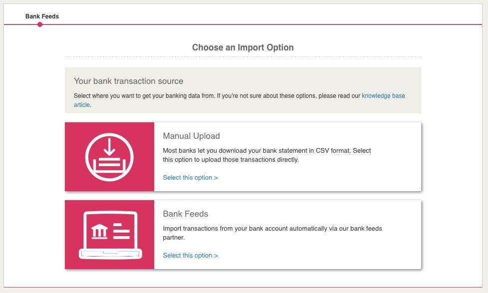 Bank Feeds - Choosing your source - KashFlow