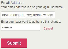 7a0dd4ac748 How do I change my email address login details  - KashFlow