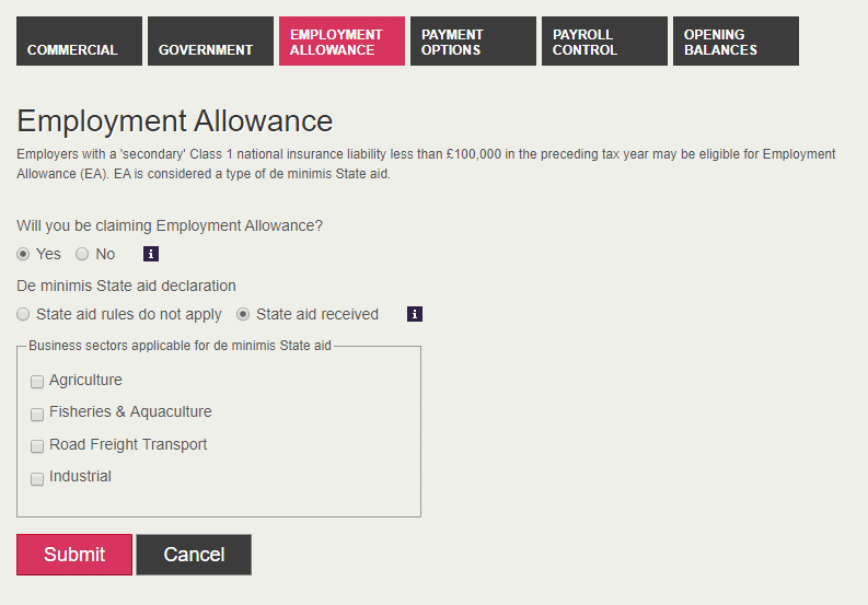 Employment Allowance tab