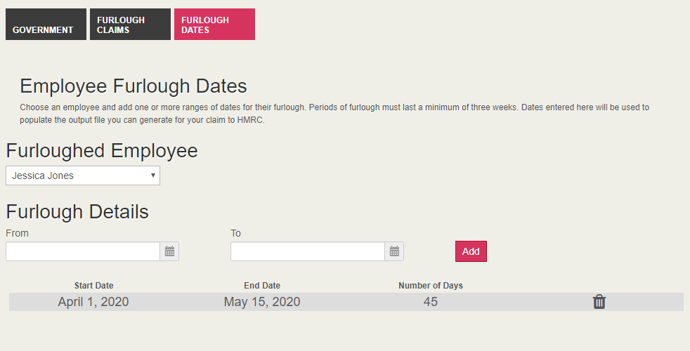 Enter furlough dates