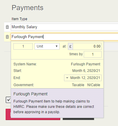 furlough payment payslip item selection