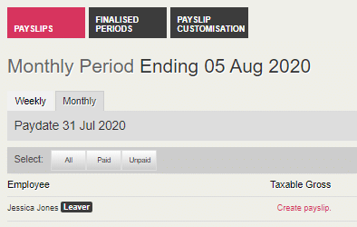 Leaver in payslip view